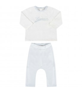 White and light blue suit for baby boy with logo
