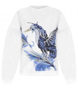 White sweatshirt with rapacious for girl
