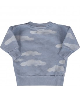 Light blue sweatshirt with clouds for baby boy