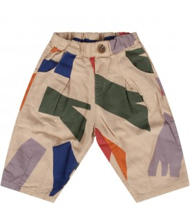 Ivory pants with colorful prints for baby boy