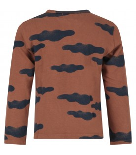 Brown T-shirt with clouds for boy
