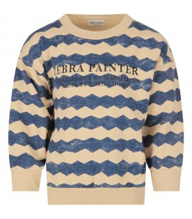 Ivory and blue sweatshirt for boy