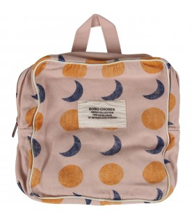 Pink backpack with sun and moon for girl