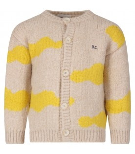 Ivory cardigan with yellow clouds for kid