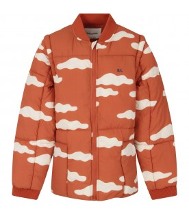 Orange jacket with clouds for boy