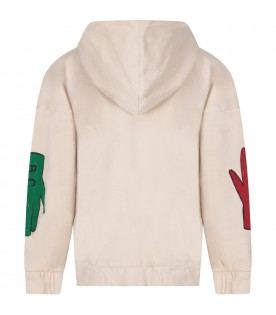 Ivory sweatshirt with colorful hands for boy
