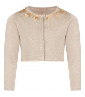 Gold cardigan with sequins for girl