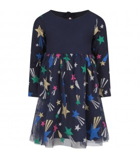 Blue dress with stars for girl