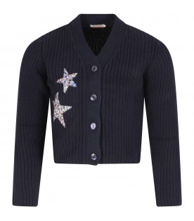Blue cardigan with stars for girl