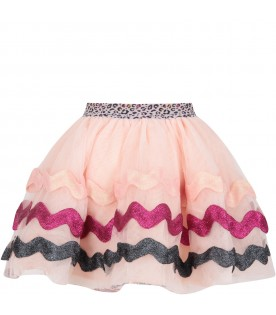 Pink girl skirt with waves