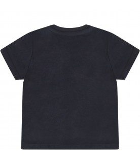 Blue T-shirt for baby boy with logo
