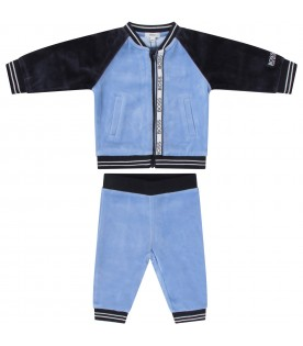 Light blue and blue tracksuit for baby boy with logo