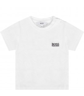 White T-shirt for baby boy with blue logo