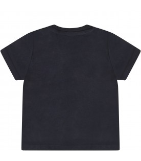 Blue T-shirt for baby boy with white logo