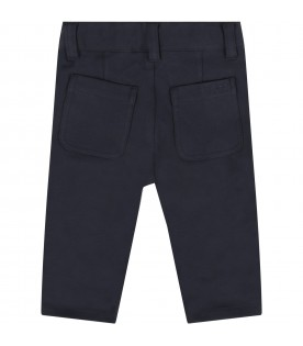 Blue pants for baby boy with logo