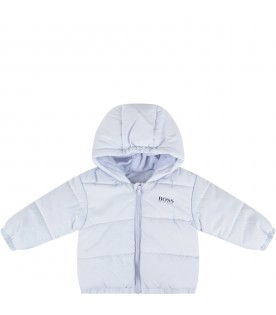 Light blue jacket for baby boy with logo
