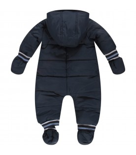 Blue and light blue overall for baby boy with logo