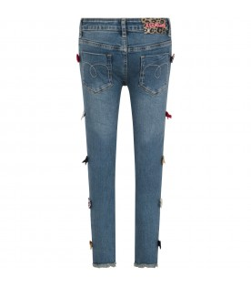 Light blue jeans for girl with bows