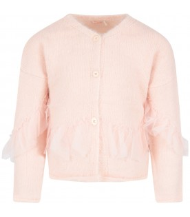 Pink cardigan for girl with ruffle