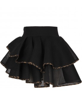 Black skirt with logo for girl