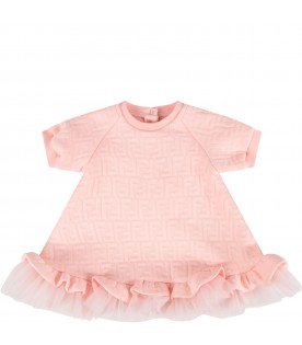 Pink dress with double FF for baby girl
