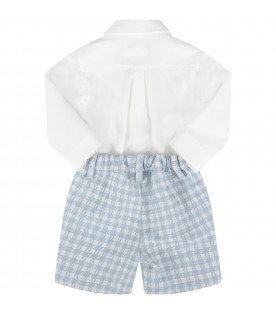 White and light blue babygrow with double FF for baby boy
