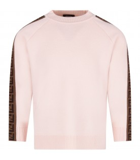 Pink sweater with double FF for girl