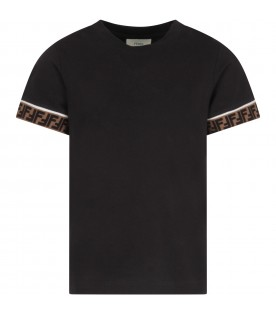 Black T-shirt with double FF for kid