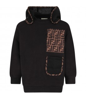 Black sweatshirt with double FF for boy