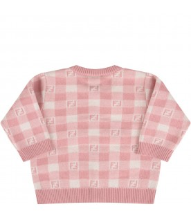 Pink and ivory cardigan with double FF for baby girl