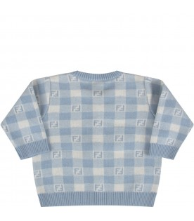 Light blue and ivory cardigan with double FF for baby boy