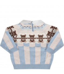 Light blue and beige sweater with bears for baby boy