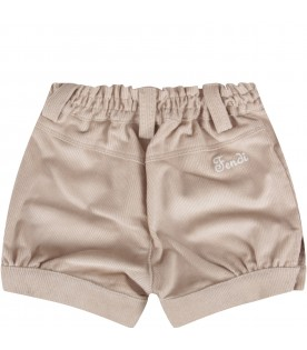 Beige short with logo for baby boy