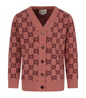 Pink cardigan with double GG for girl