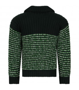 Green sweater with double GG for boy