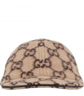 Beige hat for kids with double GG