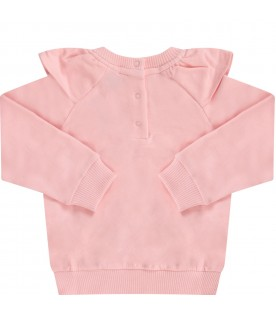 Pink sweatshirt with colorful teddy bear for baby girl