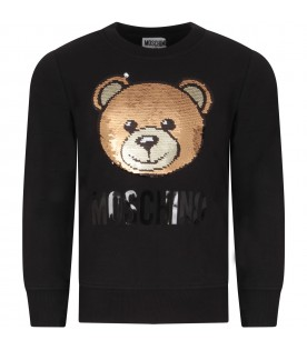 Black sweatshirt for girl with sequined teddy bear