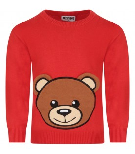 Red sweater for kid with teddy bear