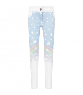 White and light blue jeans for girl with white stars