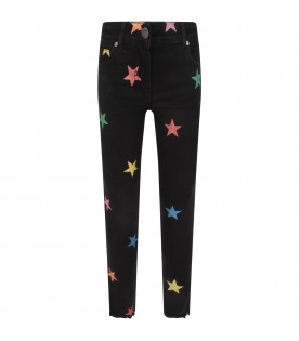 Black jeans for girl with colorful stars