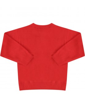 Red sweater with teddy bear for babykid