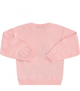 Pink sweater with teddy bear for baby girl