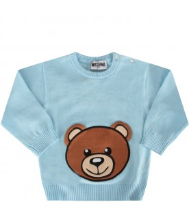Light blue sweater with teddy bear for baby boy