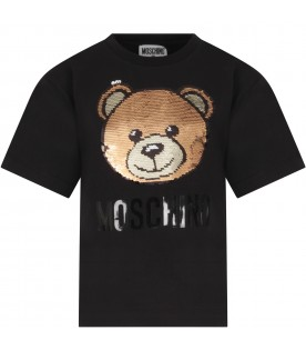 Black T-shirt for girl with sequined teddy bear