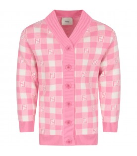 Pink and ivory cardigan with double FF for girl