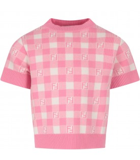 Pink and ivory sweater with double FF for girl
