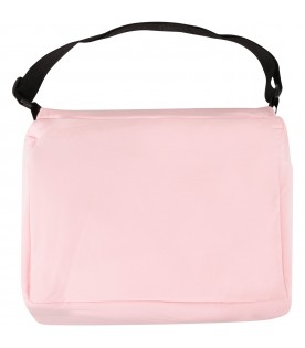 Pink changing bag with teddy bear for baby girl