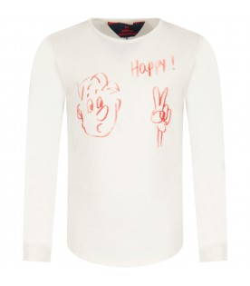 Ivory T-shirt for girl with red print