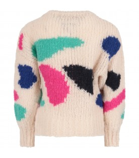 Ivory sweater for girl with colorful geometric figures